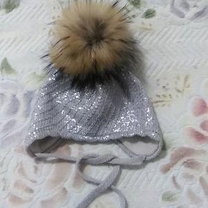 BABY WINTER HAT WITH FUR POM POM